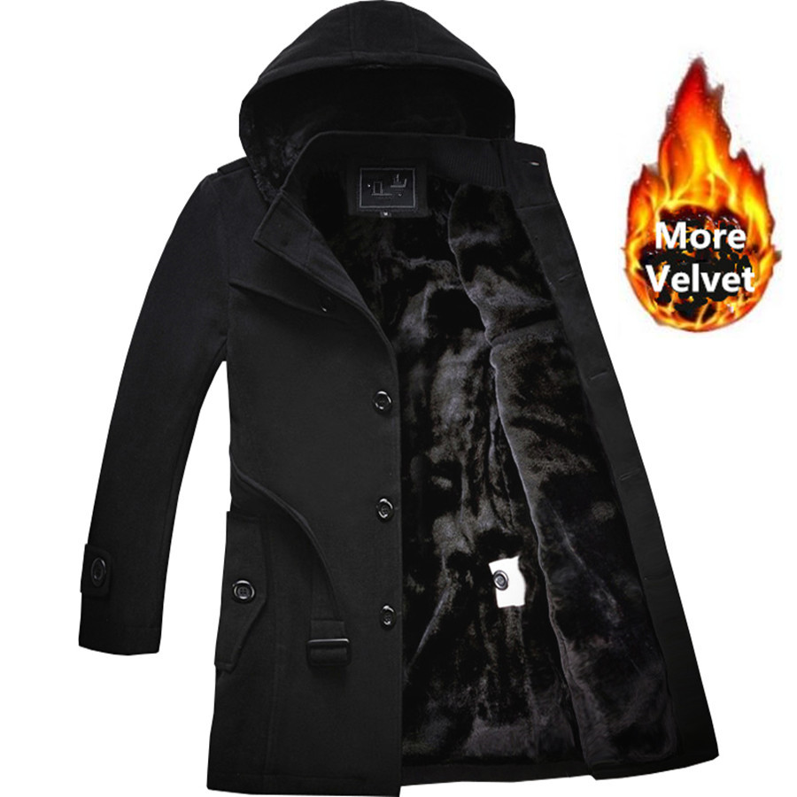 2020 Winter Trench Coat Men Fashion Long Overcoat men Hot Sale Woollen Coat Thick Men's Clothing Size 4XL Wool Jackets