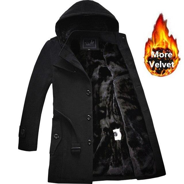 Gabardina gruesa de lana para hombre, abrigo largo a la moda, gran oferta, para invierno, talla 4XL, 2020