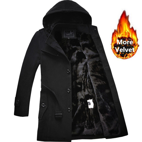 M-4XL Winter Trench Coat Men Hot Sale Woollen Coat Thick Mens Clothing Size 4XL Wool Jackets Lahore