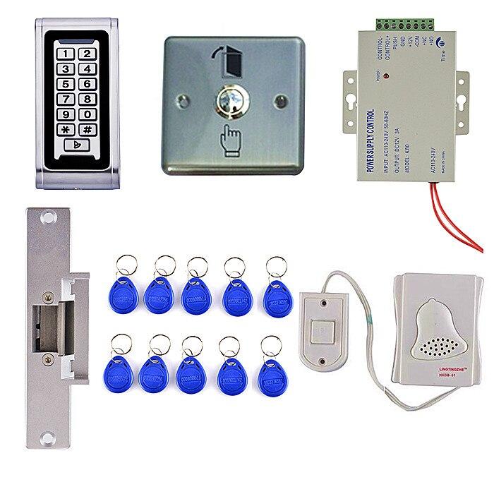 Waterproof IP68 125KHz RFID Metal Keypad Access Control System Kit+Strike Lock +Metal Door Button ip68 proximity rfid 125khz 13 56mhz id ic keypad metal door access control standalone entry door lock keypad