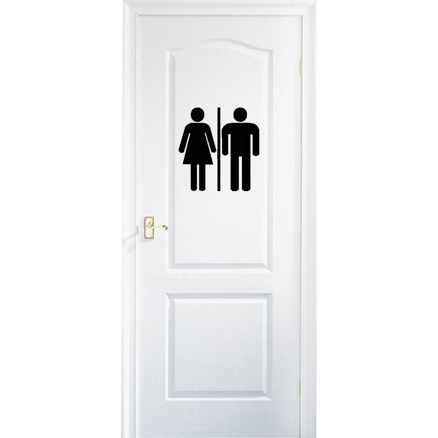 Restroom Door Decal Bathroom Sign Unisex Door Sticker Wc Toilet Symbol Vinyl Stickers Washroom