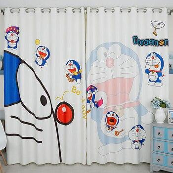 Custom Made 2x Grommet Window Drapery Window Curtain Nursery Kids Children Room Window Dressing Tulle 200x260cm Doraemon White