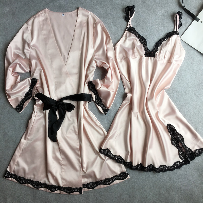 Pink Women Sexy Satin Twinset Robe Set With Nightie V-neck Bathrobe Nightgown Wedding Bridesmaid Dressing Kimono Gown Nightwear
