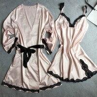 Pink Women Sexy Satin Twinset Robe Set With Nightie V Neck Bathrobe Nightgown Wedding Bridesmaid Dressing