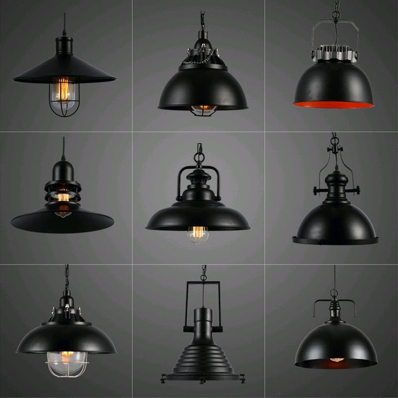 2016 Retro Hanging Lamp, Industrial Style Vintage Pendant Lights with Metal for Bar Cafe Restaurant E27 Lamp Holder,Black,220V new loft vintage iron pendant light industrial lighting glass guard design bar cafe restaurant cage pendant lamp hanging lights