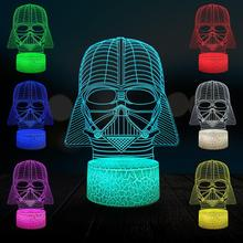 цена Darth Vader Black Warrior 3D Cartoon Lamp LED USB Night Light Multicolor Touch Remote Luminaria Switch Color Table Toy Gifts онлайн в 2017 году