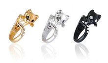 Min 1PC Beautiful CZ Crystal Cat Ring Jewelry Rings Comfortable Lucky Animal Ring For Men Women Gift