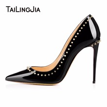 Studs Black Pointed Toe Woman Pumps Ladies High Heel Slip On Party Shoes With Rivets Patent Leather Individualistic Stilettos sexy metal rivets studs pumps stilettos heel pointed toe ladies spikes shoes slip on patent leather dress shoes high heels shoes