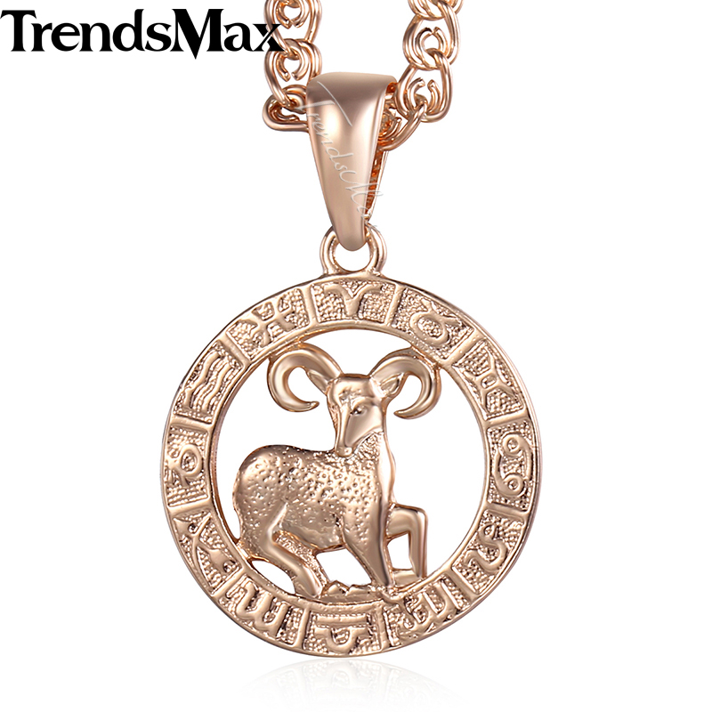 Aries 12 Zodiac Sign Constellation Womens Necklace 585 Rose Gold Color Pendant Necklace For Women Men Gift Jewelry KGP177