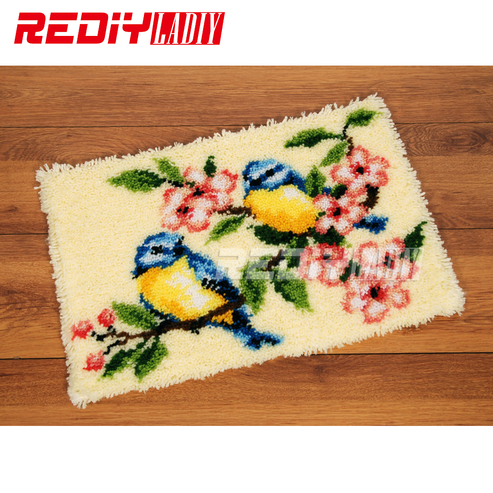 Latch Hook Rug Kits Smile Blue Birds Diy Needlework Unfinished Crocheting Rug Yarn Cushion Mat Home Decor Embroidery Carpet Rug