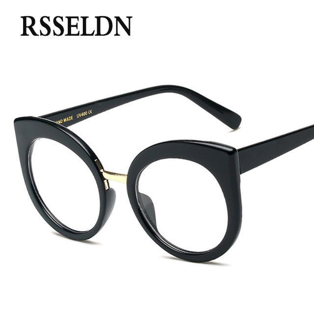 216eb8c77 Rsseldn أحدث أزياء المرأة مصمم النظارات إطار القط العين النظارات نظارات  إطار واضح جولة oculos خمر