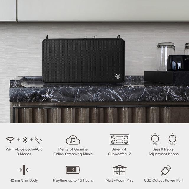 E5 Bluetooth Speaker Portable Wireless WiFi Speaker 20W With Adjustable Bass