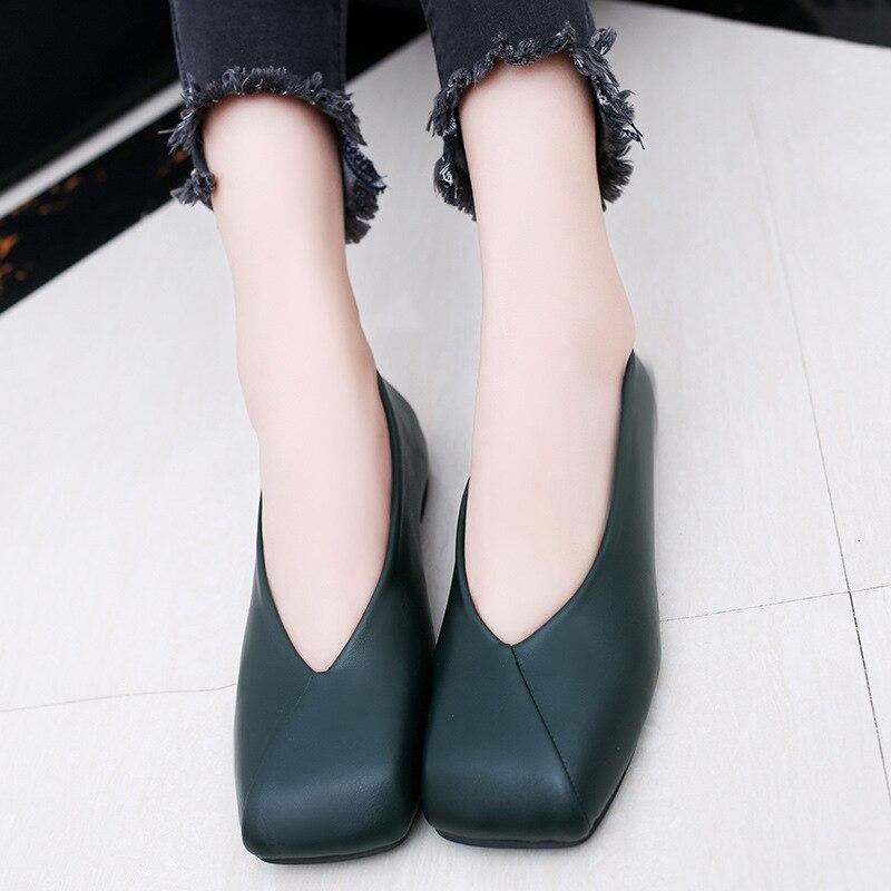 Femme Mode Plats Simples Grand Louche marron mère Carré Printemps Chaussures vert 2017 Confortable Talons Bout Ballet Appartements Nouvelle Noir I1EvnZq