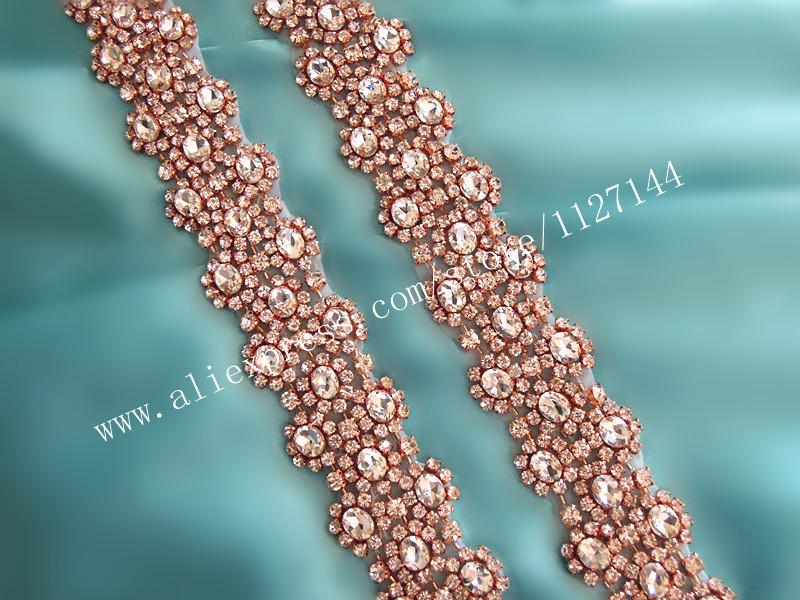 (10 yards) Wholesale bridal beaded sewing rose gold crystal rhinestone  applique trim iron on for wedding dress sash belt WDD0700 0383f2160f86