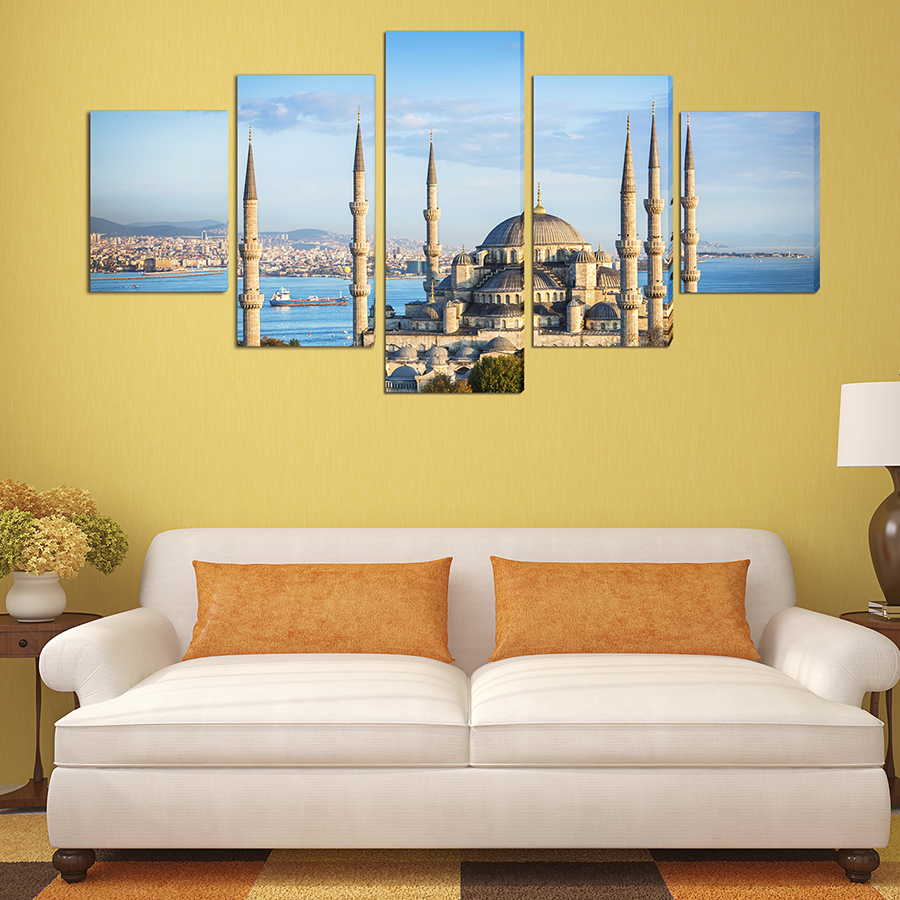 5 Panels Oil Printed Painting Turkish Mosque Building Modern Wall ...