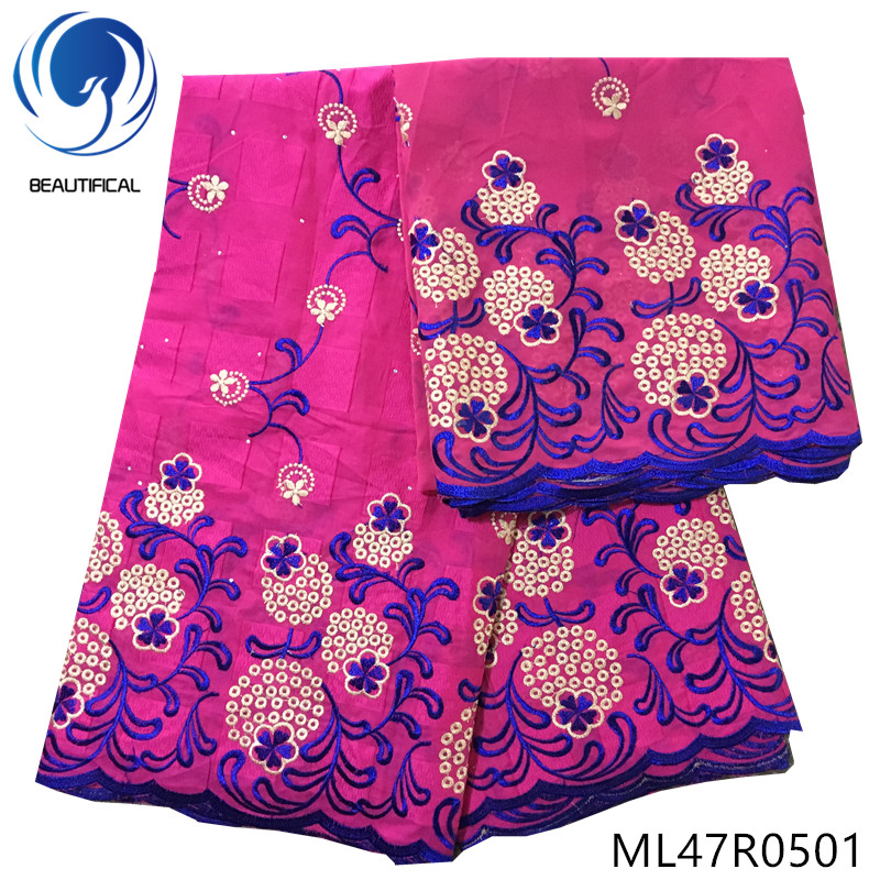 BEAUTIFICAL Cotton nigerian lace fabrics Latset embroidery swiss voile lace fabric for women african swiss lace 5+2yards ML47R05
