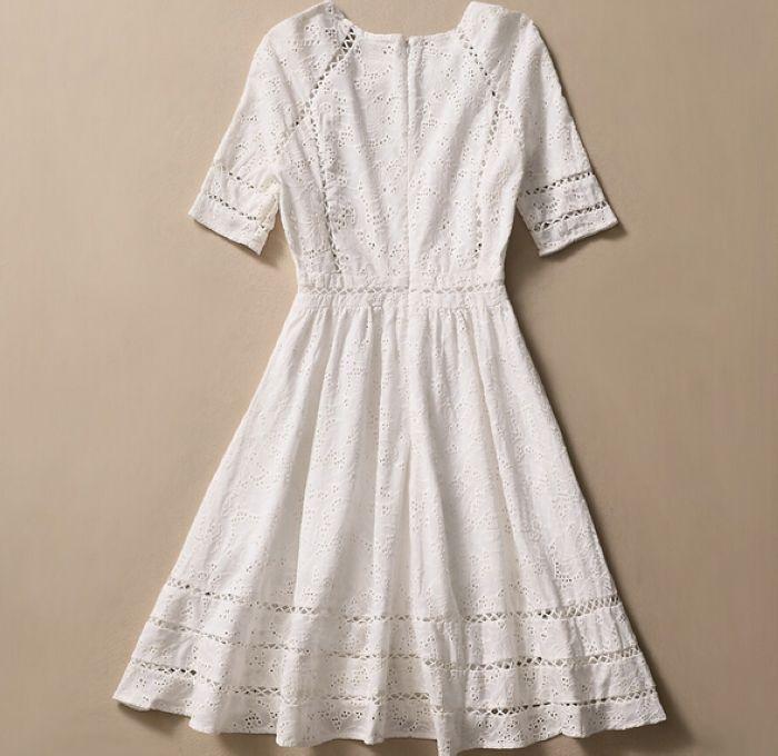 f53baffbf4 Vestido de la alta calidad Kate Middleton princesa vestido de moda de  elegante de algodón blanco bordado Hollow Casual venta en Video Juegos  ruedas de ...