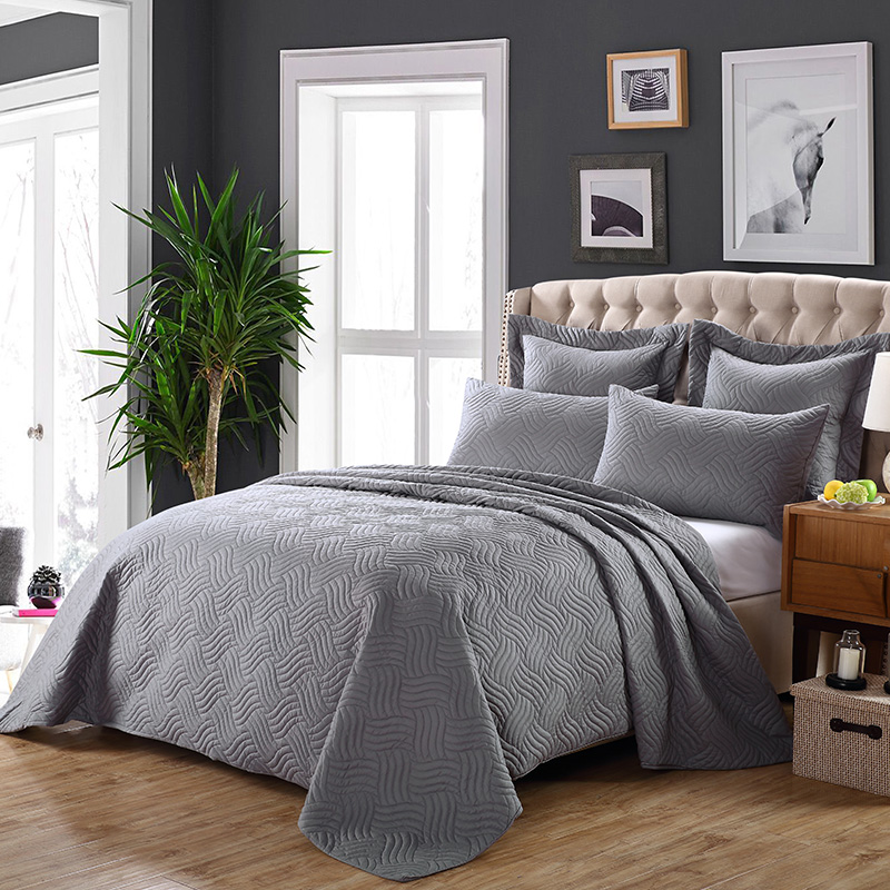 Luxury Bedspread Coverlet 3 Pcs Set Oversize Queen or King Size Solid US Local