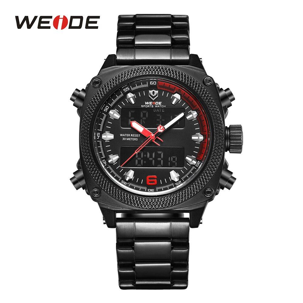 WEIDE Men's Watch Sports Calendar Week Display Analog Digital Movement Date Hardlex Black Stainless Steel Band Red Dial Watches