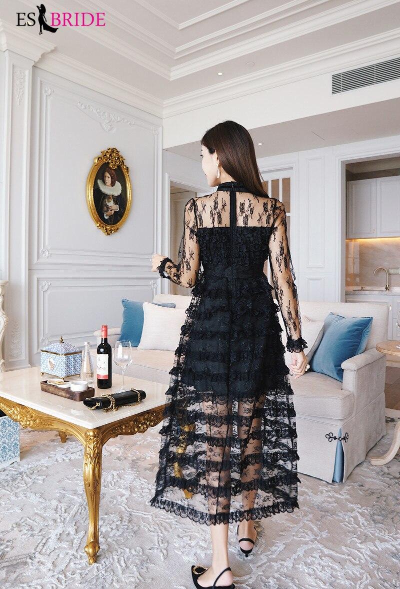 Décontracté Simple robes De soirée longue noir pile-up gâteau Robe De soirée col rond Robe élégante Robe De soirée Robe De soirée ES1890 - 4