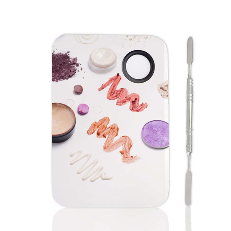 Stainless Steel Makeup Palette Nail Art Plate With Spatula Tool Kit For Face Foundation Mixing Pigments Cosmetics