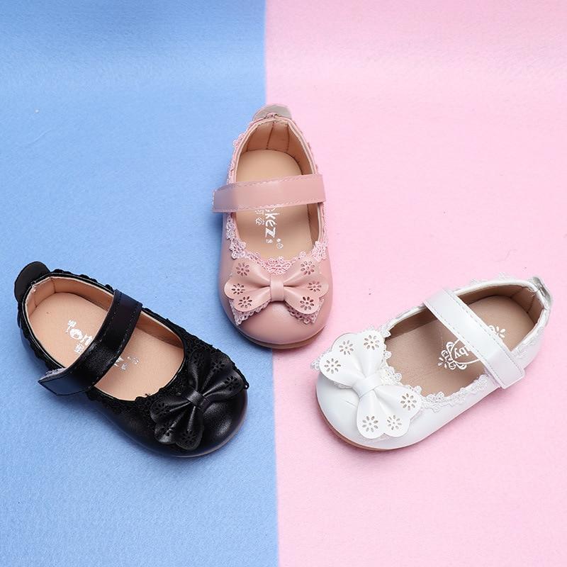 COZULMA Primavera Meninas Do Bebê Rendas Princesa Bowtie Sapatos Casuais Moda Crianças Flat Shoes Crianças Suave Sole Slip-on Sapatos tamanho 15-30