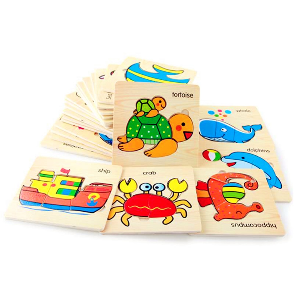3D Puzzle Jigsaw Wooden Toys Cartoon Wooden Animal And Transportation For Intelligence Kids Baby Early Educational Toy A Gift