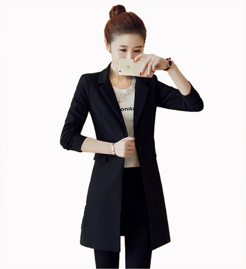 Flying ROC 2018 woman black long slim blazer casual style blazer feminino office lady plus size jacket suit hot sale