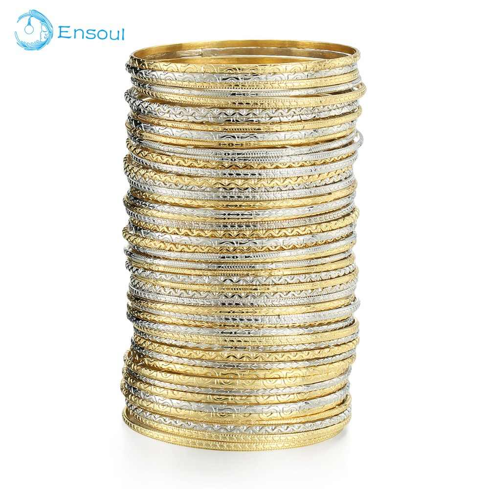 Ensoul 2019 New Fashion Top Style 50Pcs/Lot Gold/Silver Color Flower Mixed Bracelets & Bangles For Women Luxury Jewelry