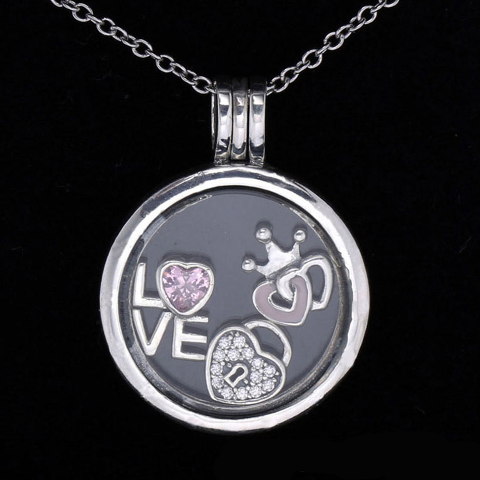 New 925 Sterling Silver Necklace Forever Hearts Petite Charm Pack Locket Necklace For Women Wedding Party fit Pan Jewelry