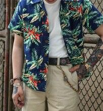 Arbeid Union 50s Hawaii Aloha Shirts Hawaiiaanse Heren Korte Mouw Casual Shirt Bamboe Print Camisa Masculina Zomer Strand Tops