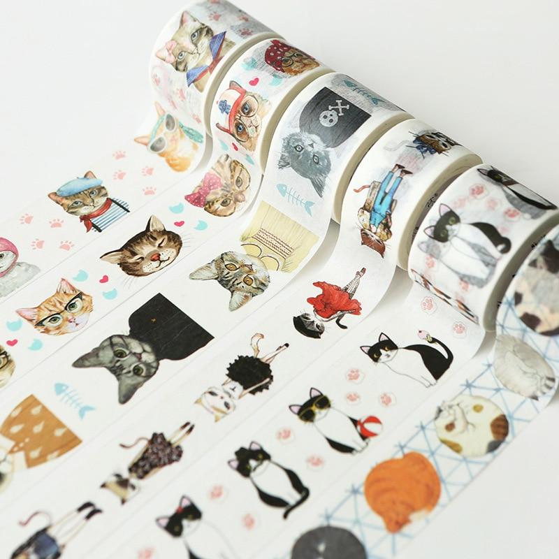 Cartoon Cute Cats  DIY Decorative Material Paper Tape Set Tape Decorative Adhesive Vintage Gifts Washi Tape Kawaii Stationary
