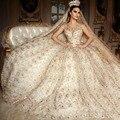 Nueva Llegada Por Encargo de la Manga Casquillo Vestido de Novia de Encaje Rebordear Oro Cristales Balón vestido de Boda Vestidos de Traje De Vestido de Princesa