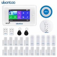ubontoo All Touch Screen Alexa Version 433MHz GSM WIFI Smart Home Security Monitor Burglar Alarm System Kits