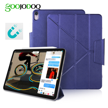 GOOJODOQ Magnetic Case for iPad Pro 11 12.9 2018 Multi-Fold PU Leather Smart Cover Case for iPad Pro 12.9 11 Funda Pencil Charge