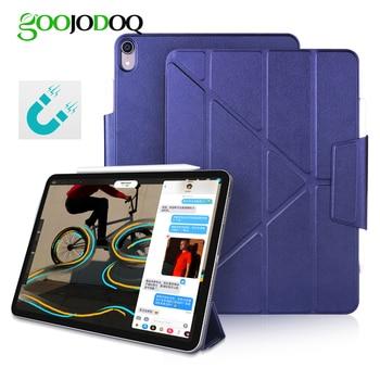 GOOJODOQ Magnetic Case for iPad Pro 11 12.9 2018 Multi-Fold PU Leather Smart Cover Case for iPad Pro 12.9 11 Funda Pencil Charge