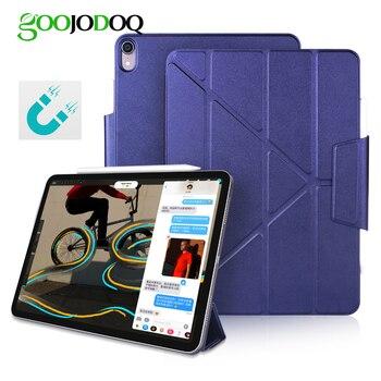เคส GOOJODOQ แม่เหล็กสำหรับ iPad Pro 11 12.9 2018 - พับ PU หนังสมาร์ทสำหรับ iPad Pro 12.9 11 Funda ดินสอ Charge
