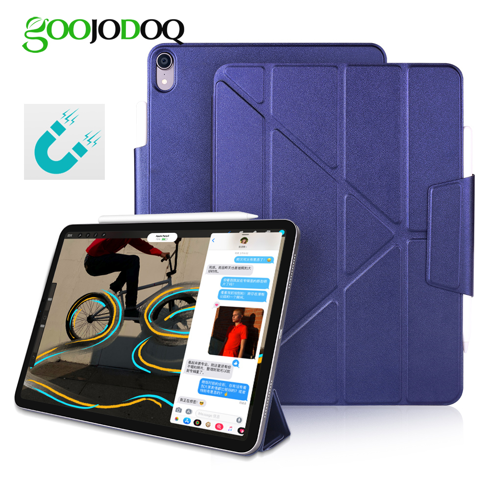 b529cf48024bf8 GOOJODOQ Magnetic Case for iPad Pro 11 12.9 2018 Multi-Fold PU Leather  Smart Cover Case for iPad Pro 12.9 11 Funda Pencil Charge