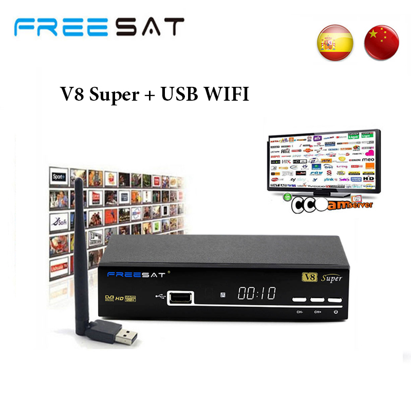 Freesat V8 Super DVB-S2 usb wifi TV receiver full HD 1080P satellite receiver support cccam clines IKS channels powervu youpron