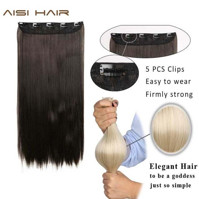 Online Shop Aisi Hair 22 Inch55cm Long Straight Women Clip In Hair