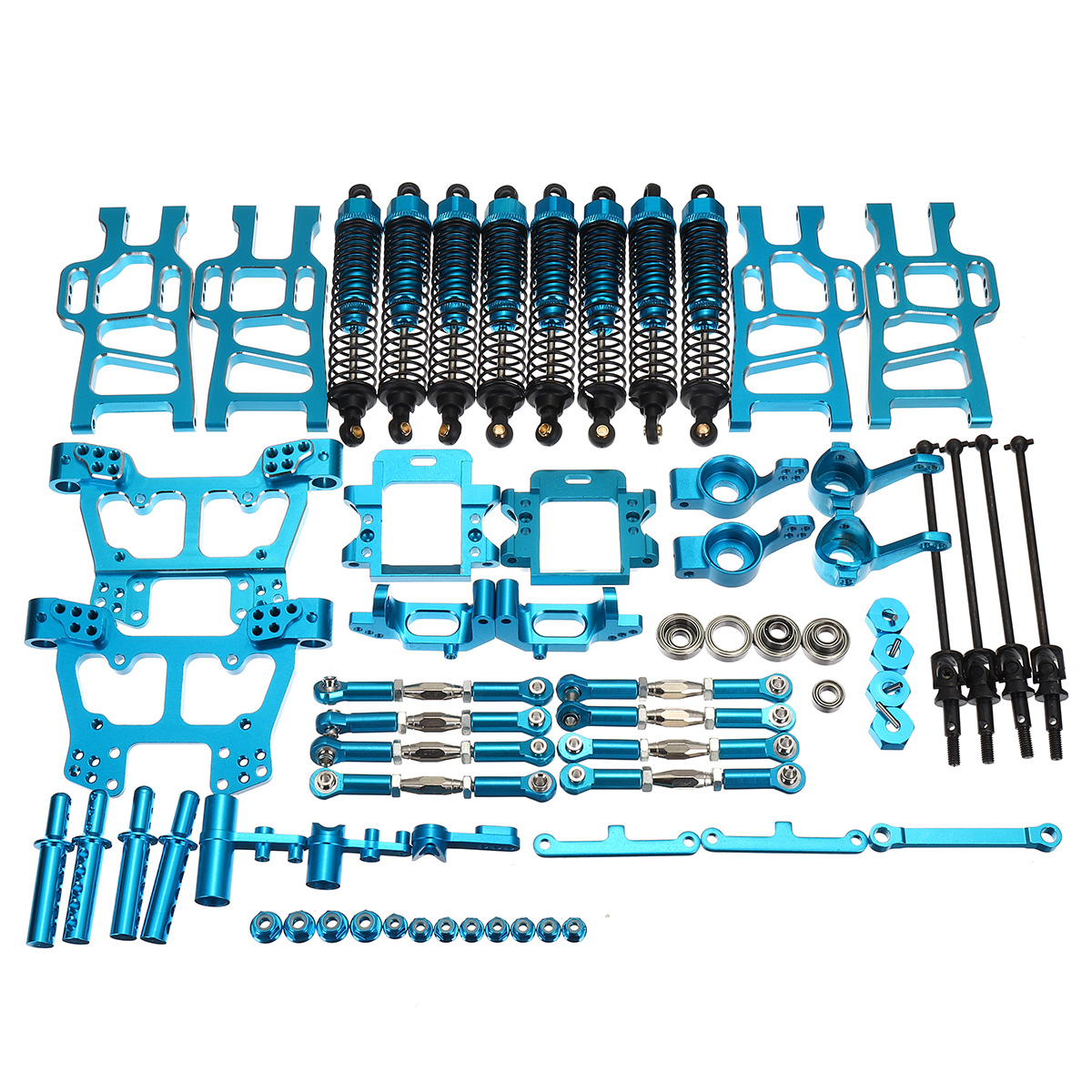 Blue Upgrade Parts Package For HSP RC 1:10 94111 94108 Crawler Car Monster Truck Blue Aluminum Alloy Parts & Accs hsp 04001 metal aluminum chassis upgrade parts 03601 for redcat volcano epx exceed infinitive ep 1 10 rc buggy monster truck