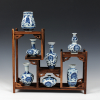 7 pieces vases and wooden shelf set chinese hand painted blue and white porcelain ceramic mini small decorative vase