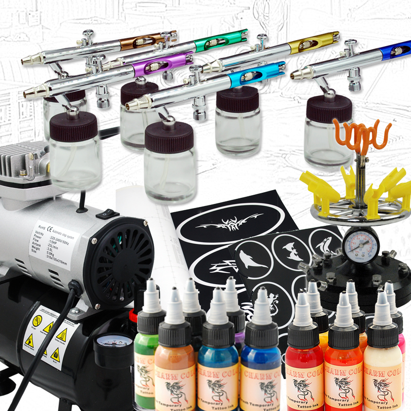 Colopaint Ultimate Body Paint Body Makeup Airbrush Kit with 6 Airbrushes and 12 Custom Body Colors and Airbrush Holder super moisturizing facial body replenishment nourish repair cream brightening whitening beauty salon 1000ml