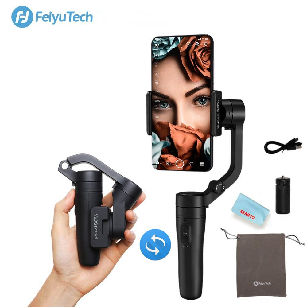 Feiyu Vlog Pocket, Vimble stabilisateur de cardan pliable pour Smartphone 2,3 axes pour iPhone Xs Max Xr X 8 Samsung S9 S8 caméra d'action