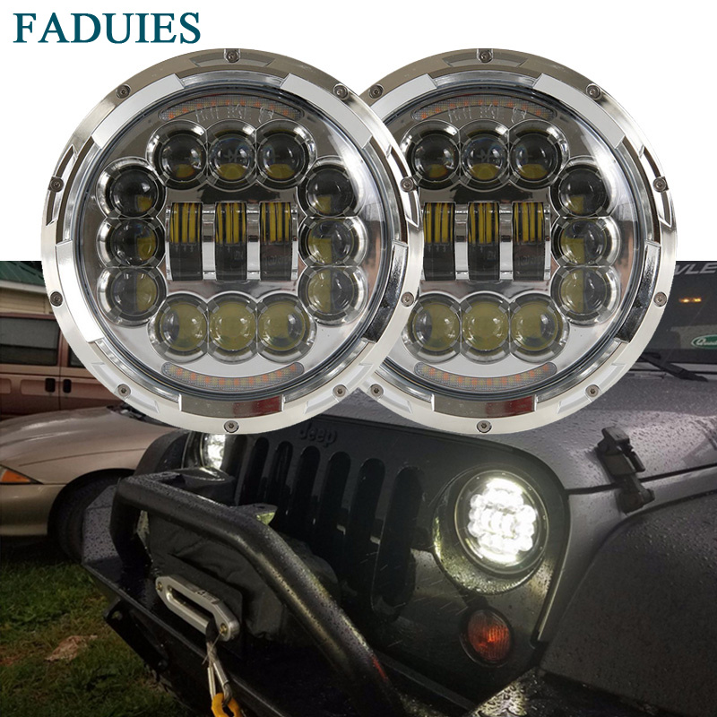FADUIES 1Pair 7 Inch Round LED Headlight with White/ amber Turn Signal For Jeep Wrangler Jk Tj 07-15 For Kenworth T2000 T-2000 faduies 2psc amber front led turn signal light assembly for 2007 2016 jeep wrangler jk turn lamp fender led light smoke lens