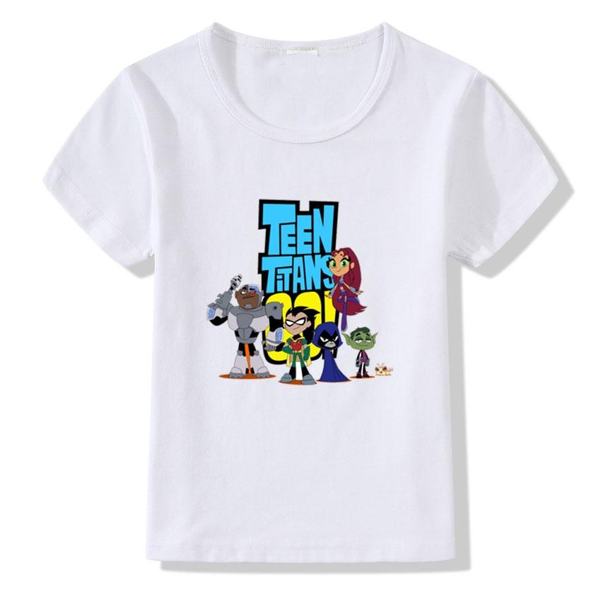 Children Cartoon Teen Titans Go Print T shirt For Kids Summer Tops Boys Girls Casual Short Sleeve T-shirt Clothes Baby Blous casual striped short sleeve t shirt crop pants twinset for boys