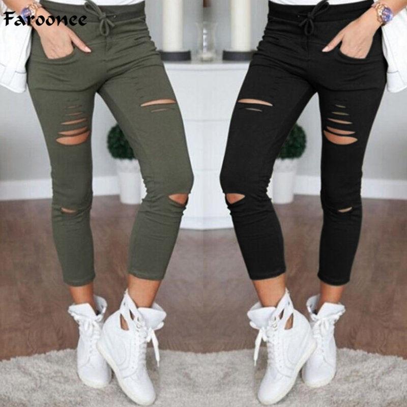 Faroonee Women Leggings Holes Pencil Stretch Casual Denim Skinny Ripped Pants High Waist Jeans Trousers Fashion Pants