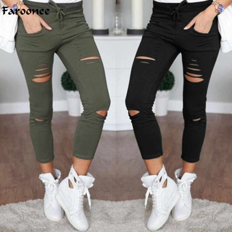 Faroonee Vrouwen Leggings Gaten Potlood Stretch Casual Denim Skinny Ripped Broek Hoge Taille Jeans Broek Mode Broek