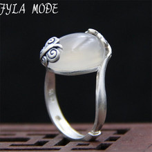 Fyla Mode 100% Natural Jadeite A Grade Flower Ring Women's Ring S999 Silver Finger Ring 16*20mm TYC062