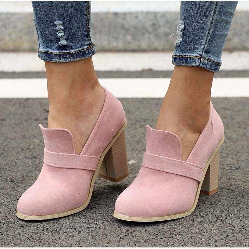 LAKESHI/Винтажные туфли с закрытым носком; женские туфли-лодочки на высоком каблуке; Новинка 2019 года; пикантные весенние туфли на платформе из искусственной замши с квадратным каблуком